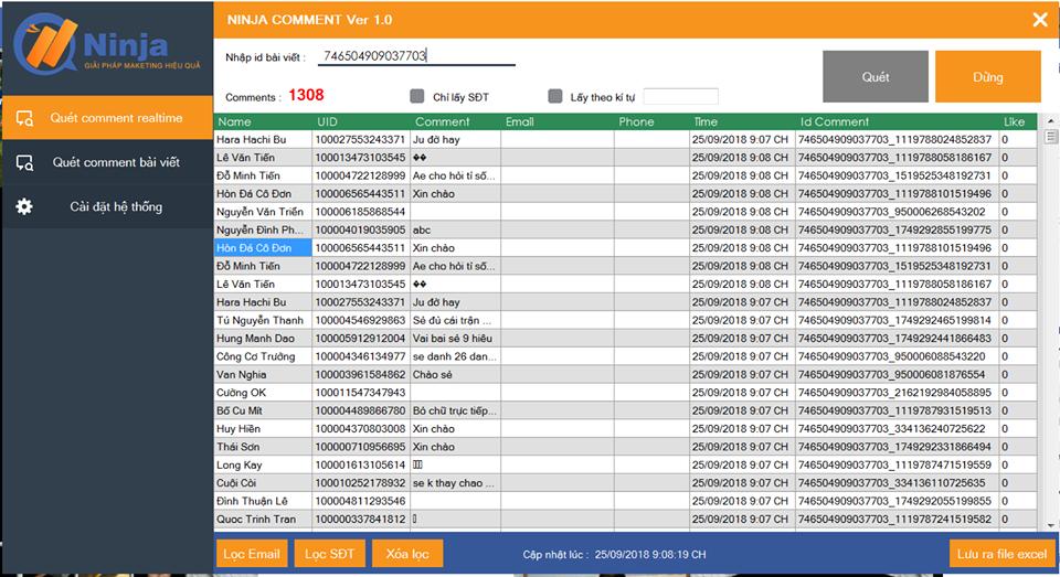Ninja comment – Phần mềm tổng hợp và lọc comment livestream tự động