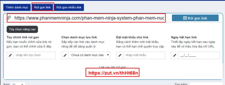 Phần mềm rút gọn link – Phần mềm Ninja
