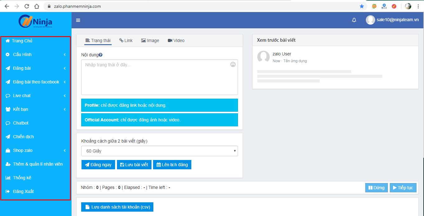 Phần mềm bán hàng zalo hiệu quả – Ninja Zalo