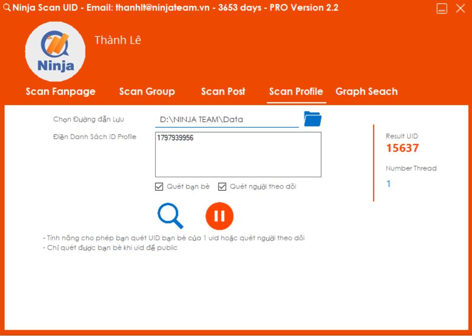 Phần mềm quét UID thông tin người dùng Facebook – Ninja scan uid